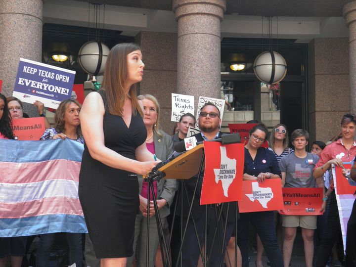 "Transgender activist and San Antonio architect Ashley Smith was among many who protested against the so-called ""bathroom bill"