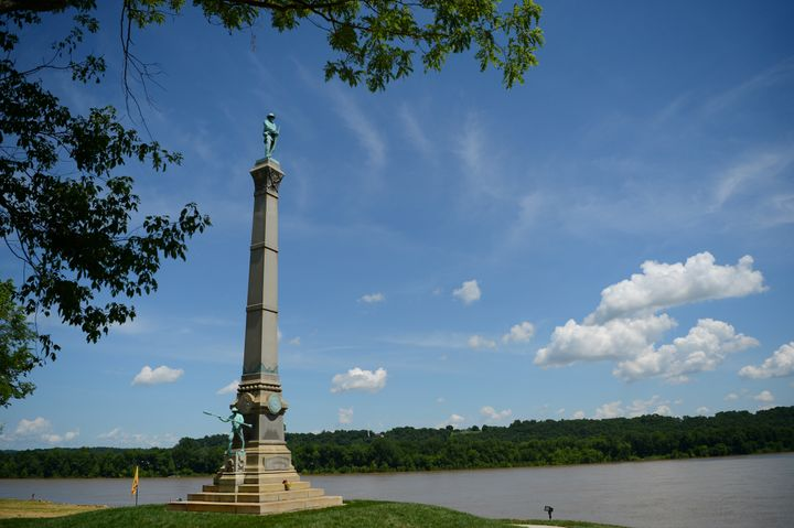 A memorial to Confederate soldiers stands on the banks of the Ohio River in Brandenburg, Kentucky. The memorial was recently