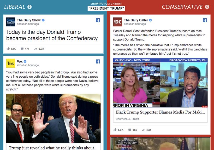 """Screenshot of topic """"President Trump"""" on WSJ's """"Blue Feed, Red Feed"""""""