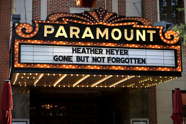 The Paramount Theater marquee bears the name of Heather Heyer.
