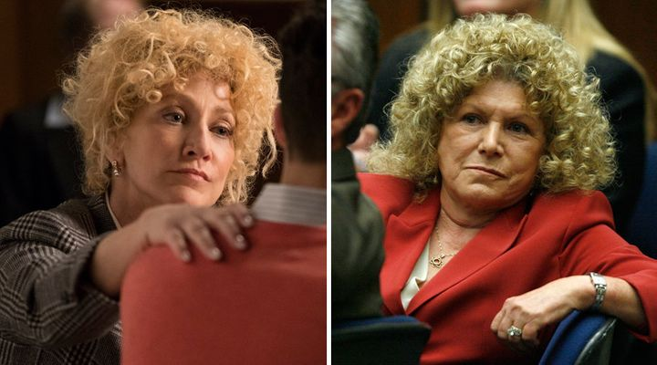 (Left) A still of Edie Falco playing Leslie Abramson. (Right) A photo of the real Leslie Abramson in court.