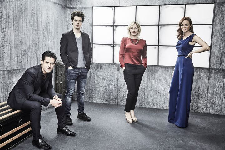 "Edie Falco, Gus Halper, Miles Gaston Villanueva and Heather Graham, the stars of the new ""Law & Order True Crime: Me"