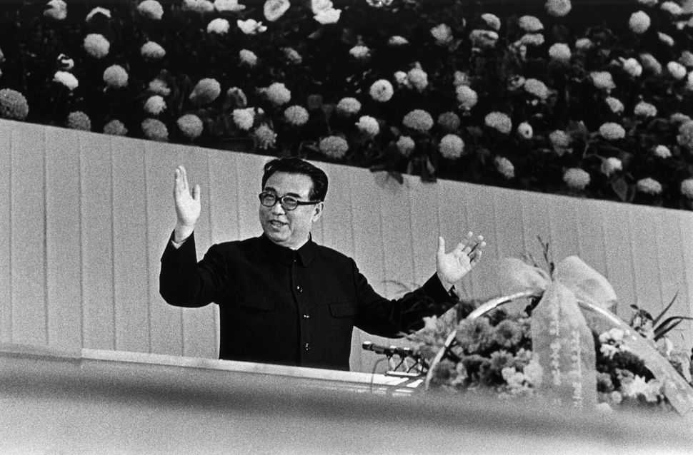 North Korean dictator Kim Il Sung at a cultural performance in an undated photo.
