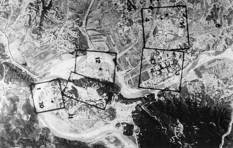A French satellite image taken in March 1994 showing an aerial view of North Korea's Yongbyon nuclear complex. The