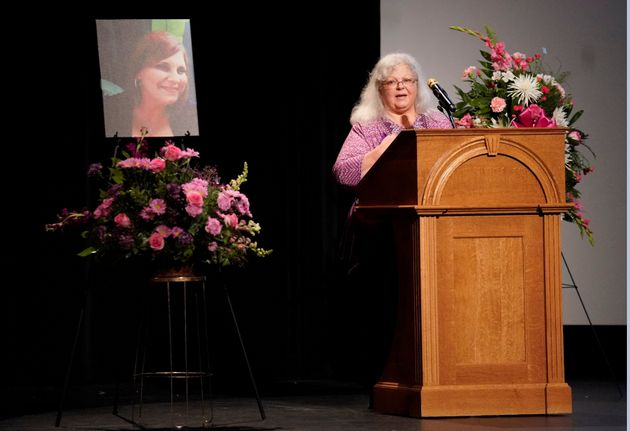 Susan Bro, Heyer's mother, speaks during her