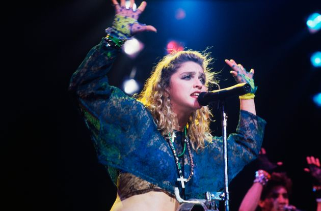 Madonna performs on the 1985 Virgin
