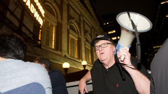 NEW YORK, NY - AUGUST 15:  Michael Moore leads his Broadway audience to Trump Tower to protest President Donald Trump on August 15, 2017 in New York City.  (Photo by Noam Galai/Getty Images for for DKC/O&M)