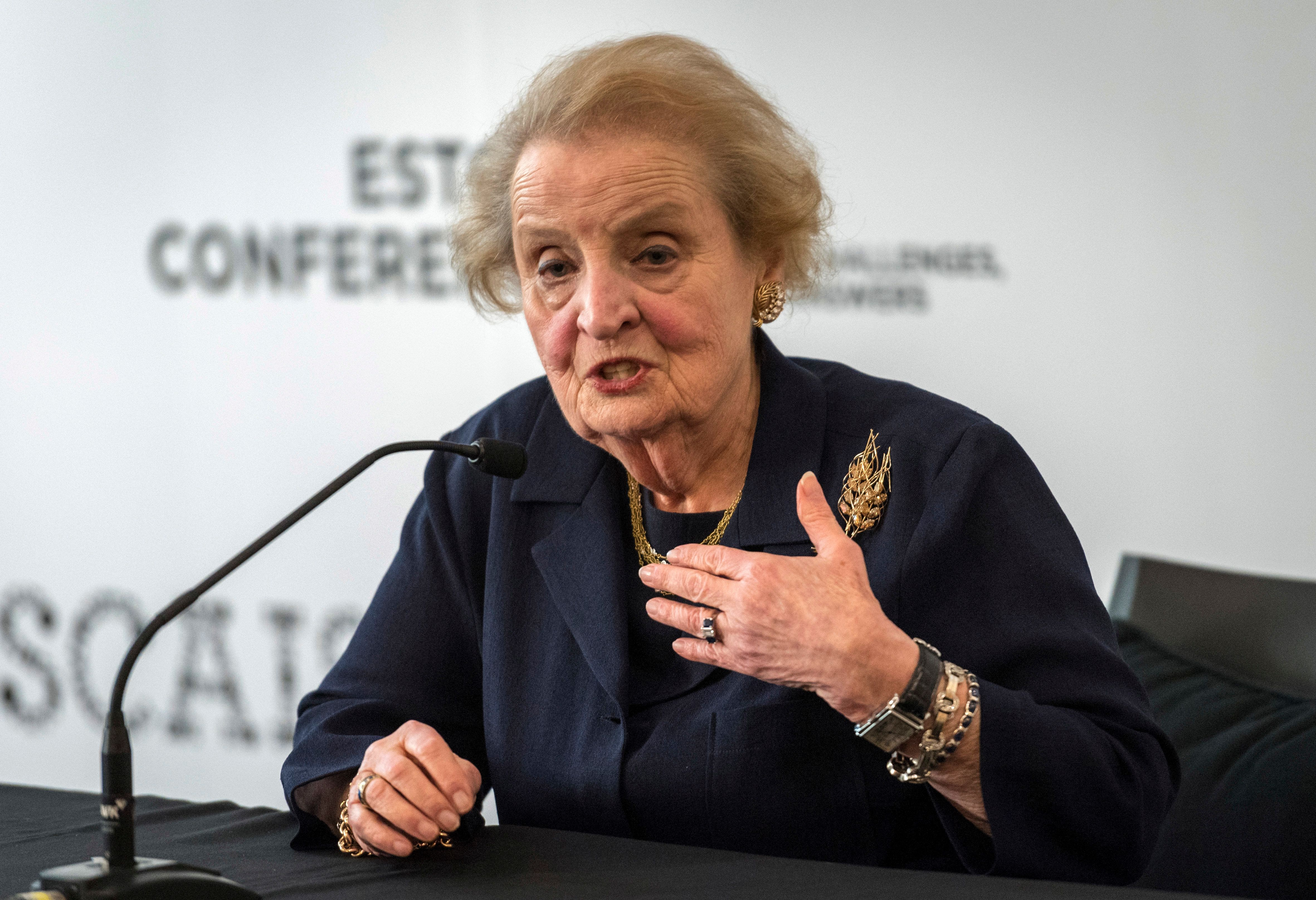 ESTORIL, PORTUGAL - MAY 31: Former United States Secretary of State Madeleine Albright meets the press at the end of her conference on 'Challenges to Open Democracies' on May 31, 2017 in Estoril, Portugal. The Estoril Conferences are a global meeting that takes place every other year under the subject 'Global Challenges, Local Answers'. The event, under the high patronage of the President of Portugal, deals with globalization and political, economic, social and cultural changes occurring nowadays that promote and accelerate new international players, schisms, inter-connections and interdependences among peoples, countries and regions. (Photo by Horacio Villalobos - Corbis/Corbis via Getty Images)