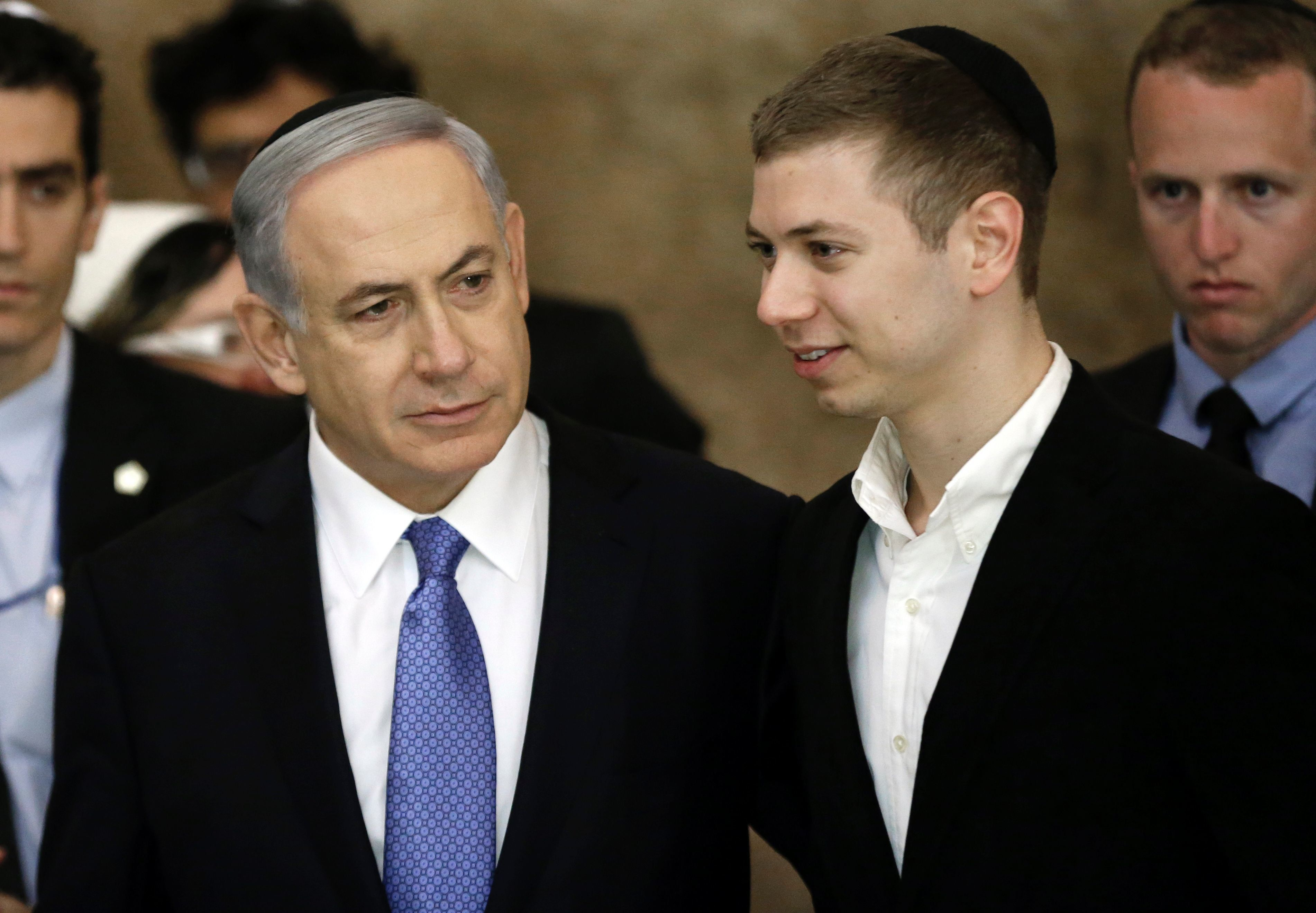 Israeli Prime Minister Benjamin Netanyahu (L) and his son Yair visit, on March 18, 2015, the Wailing Wall in Jerusalem following his party Likud's victory in Israel's general election. Netanyahu swept to a stunning election victory, securing a third straight term for an Israeli leader who has deepened tensions with the Palestinians and infuriated key ally Washington.  AFP PHOTO / THOMAS COEX / AFP / THOMAS COEX        (Photo credit should read THOMAS COEX/AFP/Getty Images)
