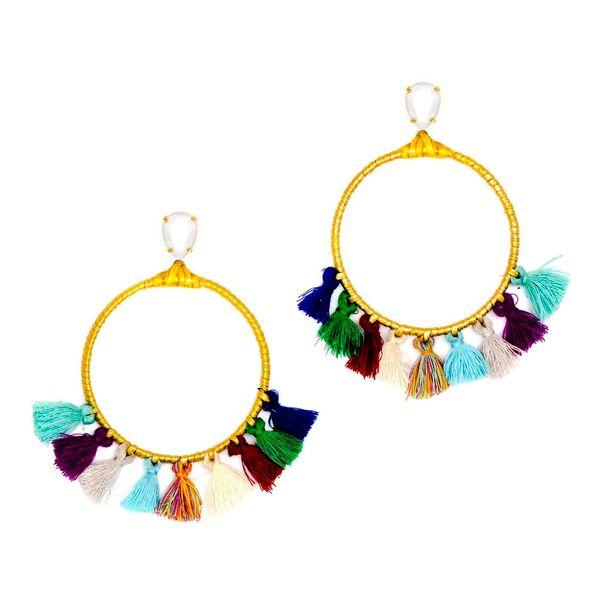 "Long live tassels. <a href=""https://www.ahalife.com/product/149000038807/swarovski-hoop-earrings-the-jdita"" target=""_blank"">C"