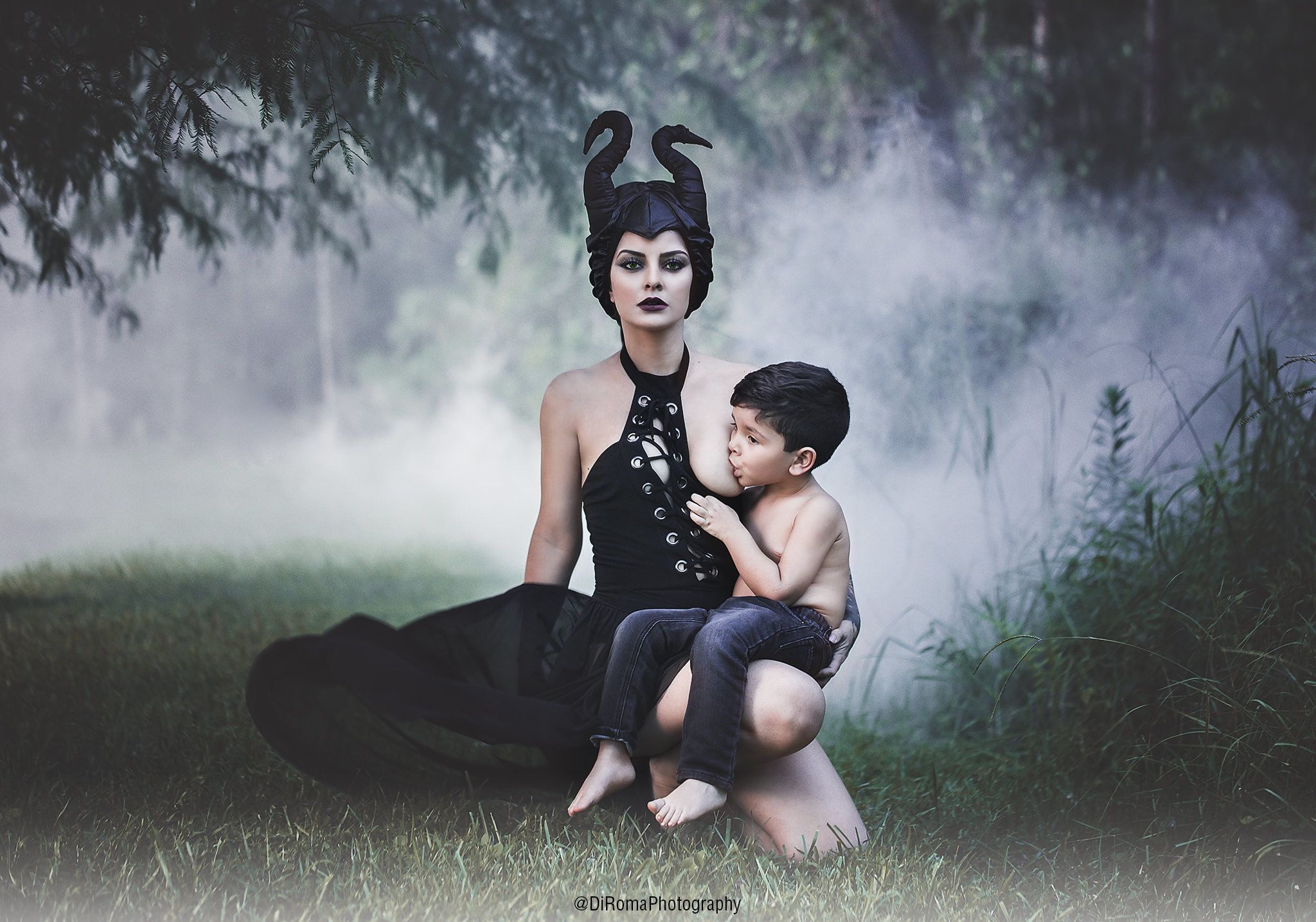 "Yaky Di Roma, a Venezuelan photographer, dressed as ""Sleeping Beauty"" villain Maleficent for a breastfeeding photo with"
