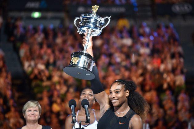 Serena Williamscelebrates her victory at the Australian