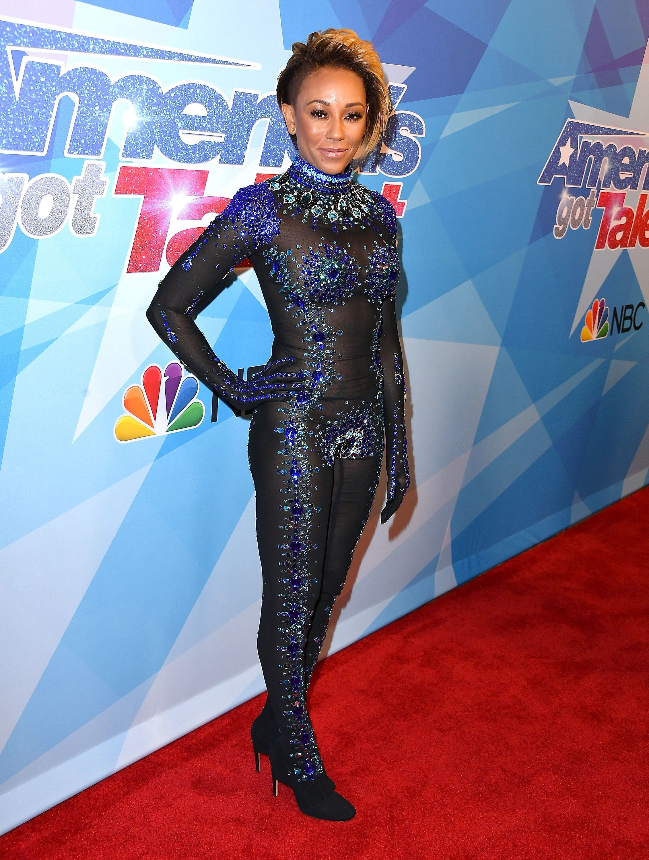 HOLLYWOOD, CA - AUGUST 15:  Mel B, Melanie Brown arrives at the Premiere Of NBC's 'America's Got Talent' Season 12 at Dolby Theatre on August 15, 2017 in Hollywood, California.  (Photo by Steve Granitz/WireImage)