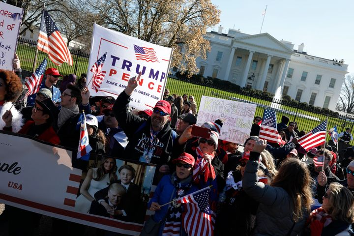 Demonstrators gather near the White House during a March4Trump event in March.
