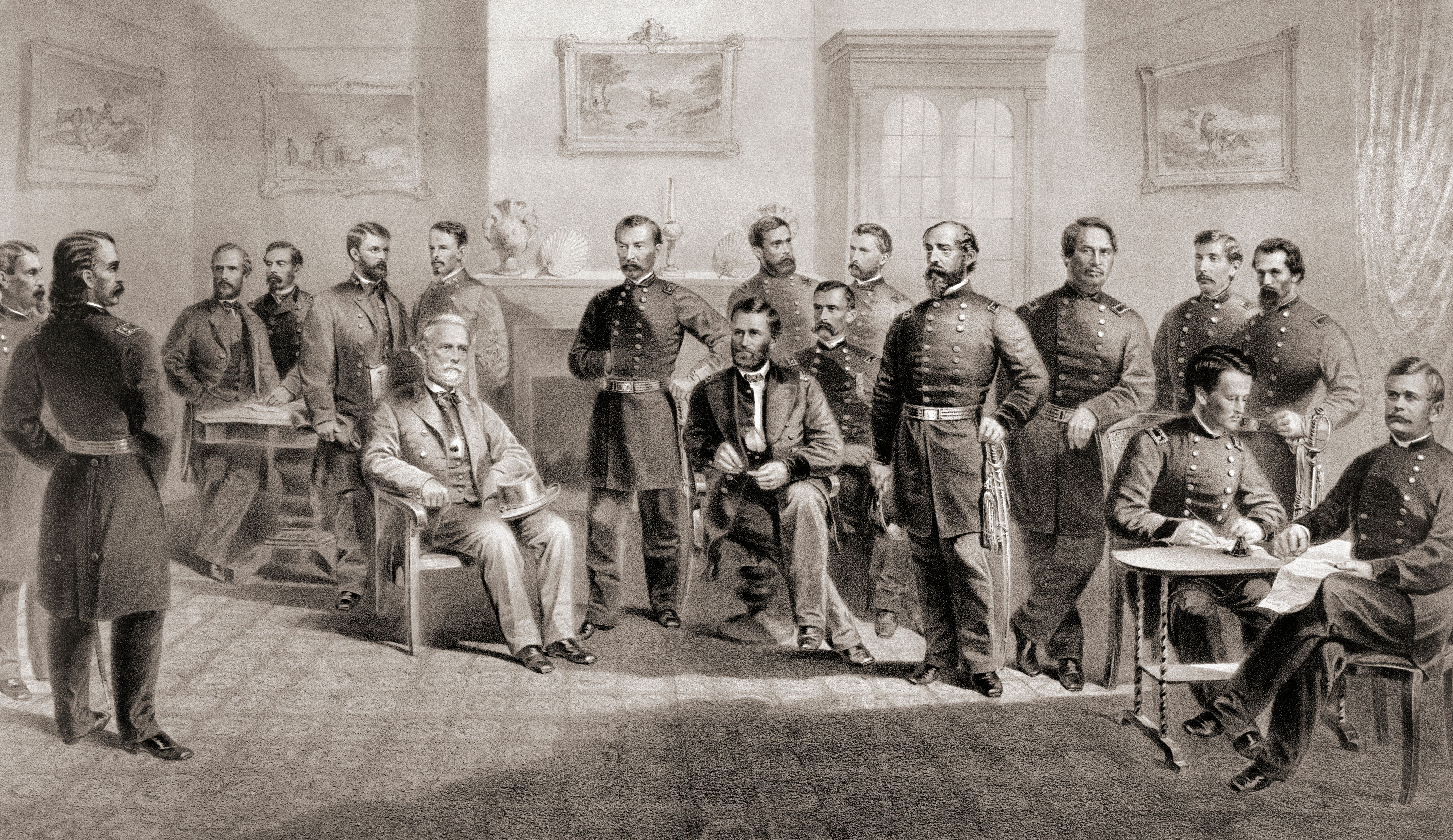 General Ulysses S. Grant (seated centre right) and General Robert E. Lee (seated centre left) with their respective staff at the Appomattox Courthouse, Virginia where General Lee surrendered the Army of North Virginia and thus ended the American Civi