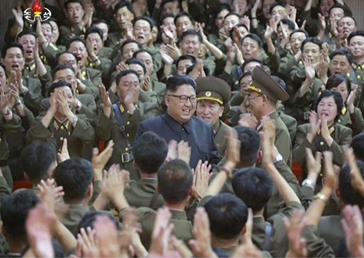 North Korean leader Kim Jong Un is applauded at a performance in Pyongyang.