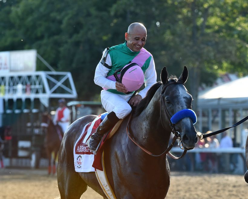 2016 Travers Stakes winner Arrogate with Hall of Fame jockey Mike Smith aboard