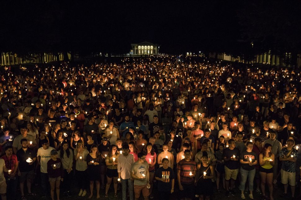 Image result for Thousands gather for peaceful candlelight vigil at UVA