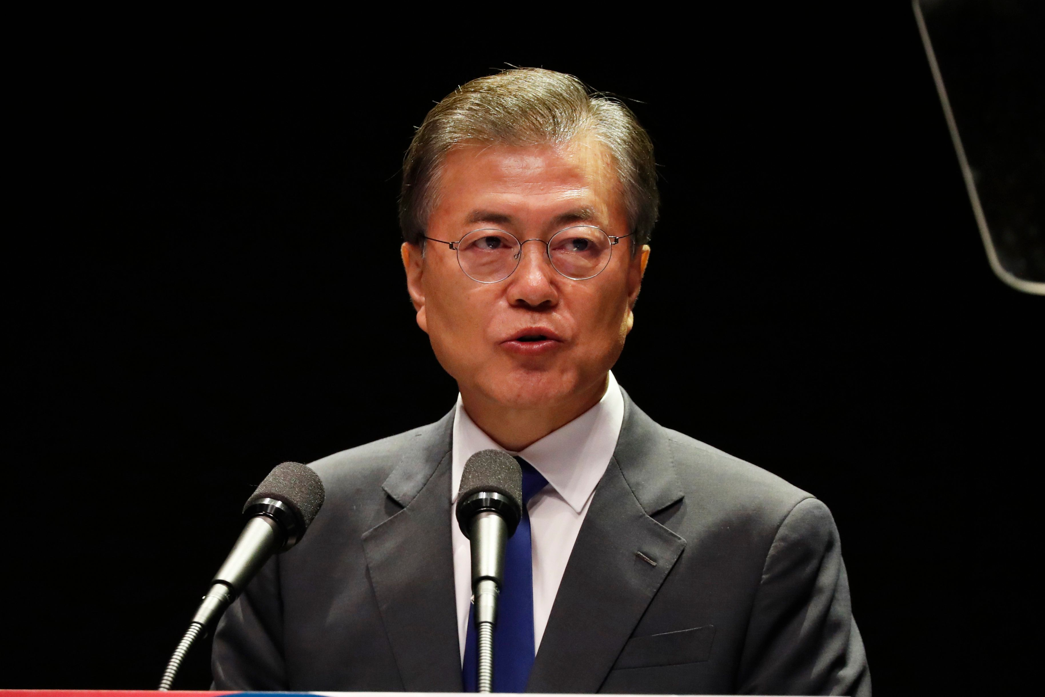 South Korea's President Moon Jae-In delivers a speech during celebrations marking the 72th anniversary of Korea's liberation from Japanese colonial rule in 1945, in Seoul on August 15, 2017. South Korea marked its Liberation day, the 72nd anniversary of independence from Japanese colonial rule, with ceremonies in Seoul. / AFP PHOTO / POOL / JEON HEON-KYUN        (Photo credit should read JEON HEON-KYUN/AFP/Getty Images)