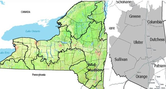 <p>New York State and the mid-Hudson. The Catskill Mountains are mostly in Ulster County.</p>
