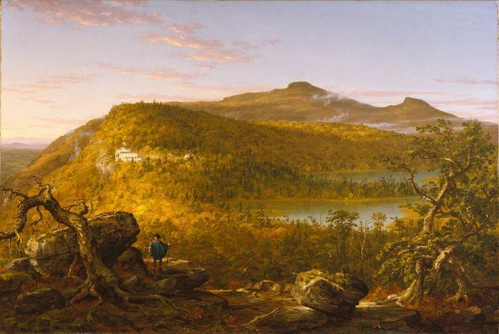 <p>Thomas Cole's 1844 painting of North Lake and environs. The Hudson River is in the distance in the upper left hand corner of the painting.</p>