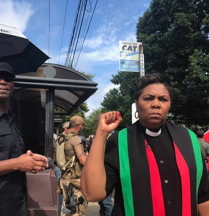 The Rev. Traci Blackmon marching for peace in Charlottesville