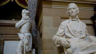 WASHINGTON, D.C.- MAY 19: Statues of influential  Americans line the walls of the National Statutory Hall in the nation's Capitol on May 19, 2017  in Washington, D.C.  The state of Georgia is represented by the Confederate Vice-President Alexander Stephens.(Photo by Andrew Lichtenstein/ Corbis via Getty Images)