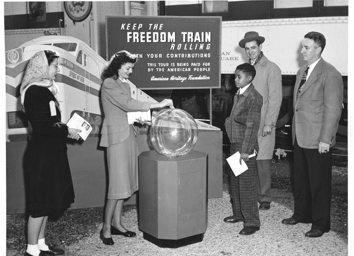Photograph of Freedom Train donation box. Image courtesy National Archives, 1948.