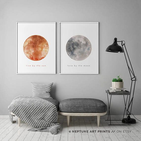 """How adorable would these """"Live by the sun, love by the moon"""" pictures look over a bed? You can order the <a href=""""https://www"""