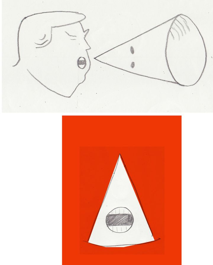 Two early sketches that helped inform Jon Berkeley's stunning Economist cover.
