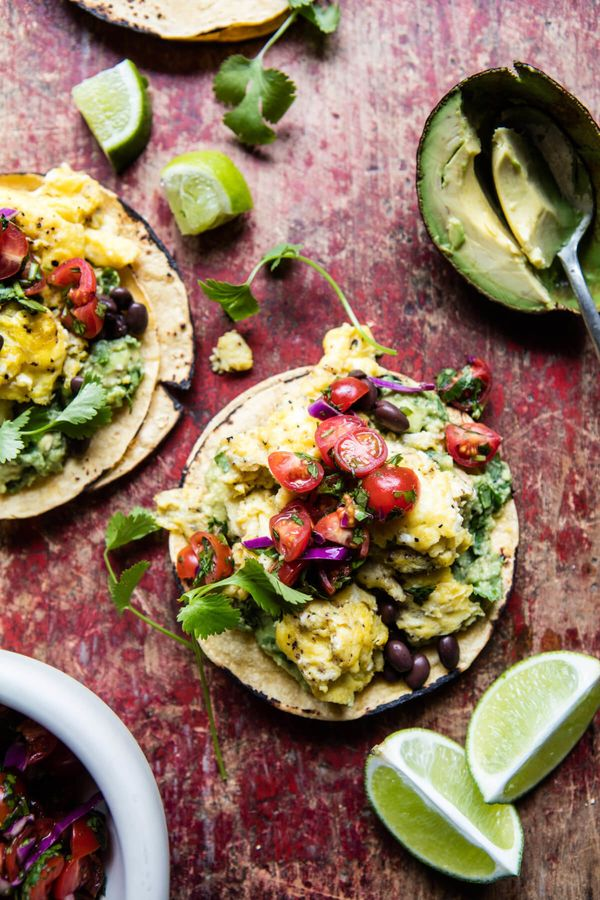 "<strong>Get the <a href=""https://www.halfbakedharvest.com/huevos-rancheros-scrambled-eggs/"" target=""_blank"">Huevos Rancheros"