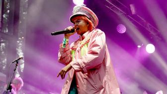 SAN FRANCISCO, CA - AUGUST 12:  Li Saumet of Bomba Estereo performs on the Panhandle Stage during the 2017 Outside Lands Music And Arts Festival at Golden Gate Park on August 12, 2017 in San Francisco, California.  (Photo by FilmMagic/FilmMagic)