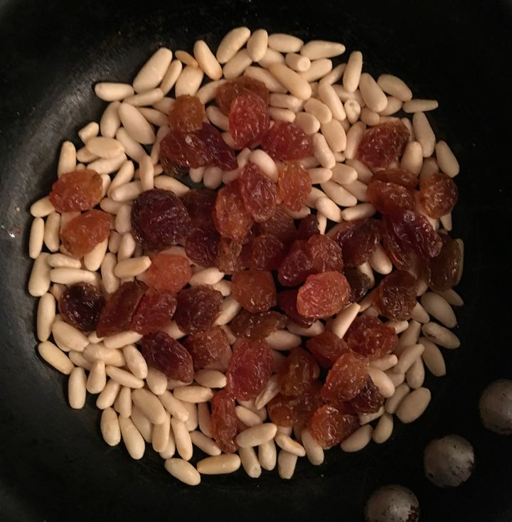 White raisins and lightly toasted pine nuts