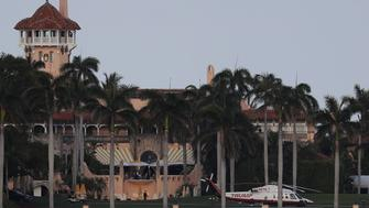 PALM BEACH, FL - APRIL 08:  The Trump helicopter is seen at the Mar-a-Lago Resort where President Donald Trump yesterday held meetings with Chinese President Xi Jinping on April 8, 2017 in Palm Beach, Florida. The two presidents spoke about China/US relations as well as the U.S. bombing of Syria last night.  (Photo by Joe Raedle/Getty Images)