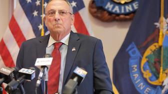AUGUSTA, ME - JUNE 30: During a press conference at the State House on Friday, Gov. Paul LePage said he would not sign any budget that comes out of the legislature today and he will wait the full ten days before vetoing it. If a budget is not passed by midnight, the state will enter into a partial shutdown. (Staff Photo by Gregory Rec/Portland Press Herald via Getty Images)