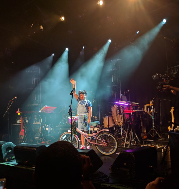 """Sarai Gonzalez, who starred in the band's """"Soy Yo"""" video, made a special appearance during the group's second sold-out NYC co"""