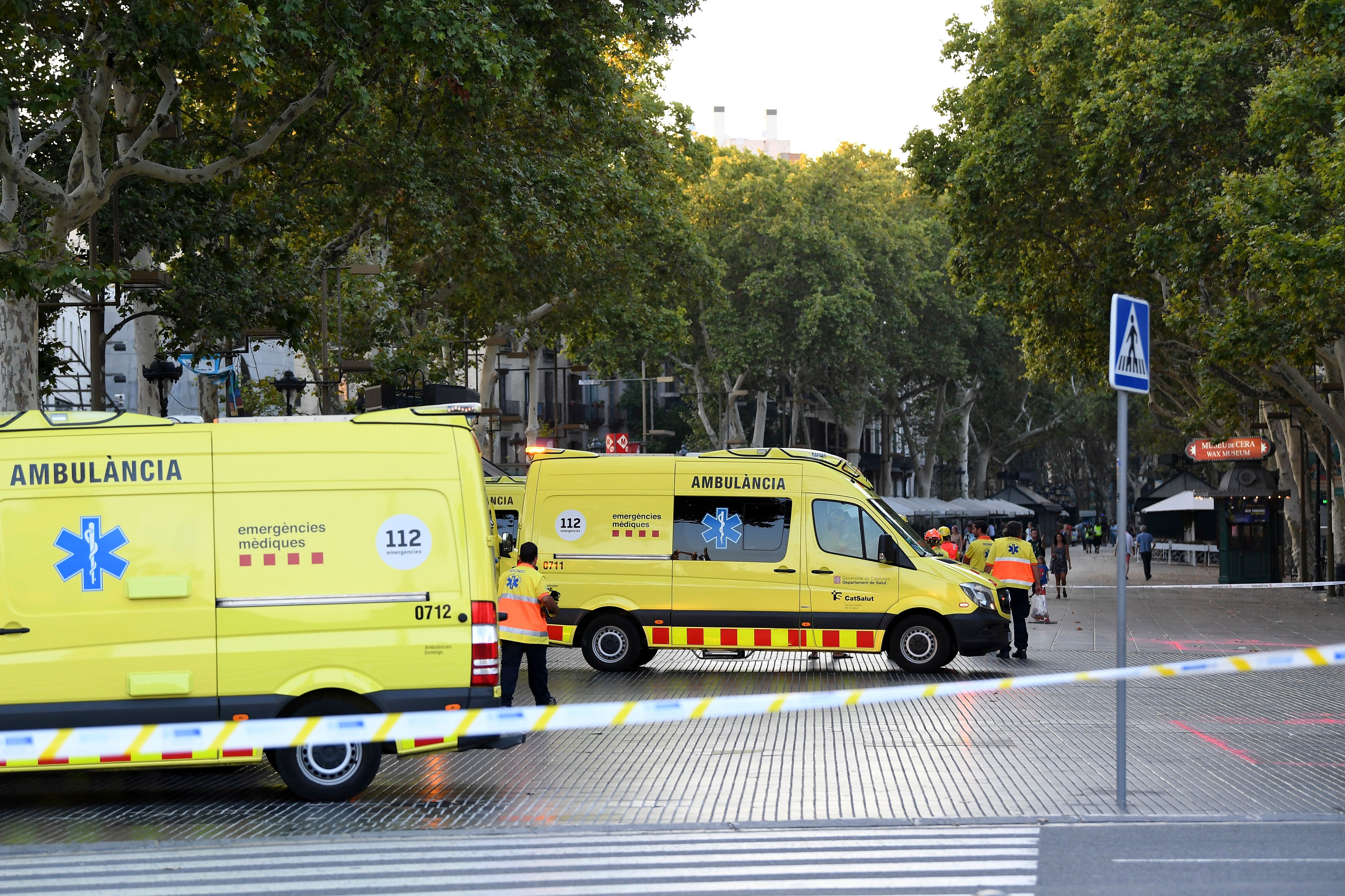 BARCELONA, SPAIN - AUGUST 17: A general view of ambulances at the scene of a terrorist attack in the Las Ramblas area on August 17, 2017 in Barcelona, Spain. Officials say 13 people are confirmed dead and at least 50 injured after a van plowed into people in the Las Ramblas area of the city this afternoon. (Photo by David Ramos/Getty Images)