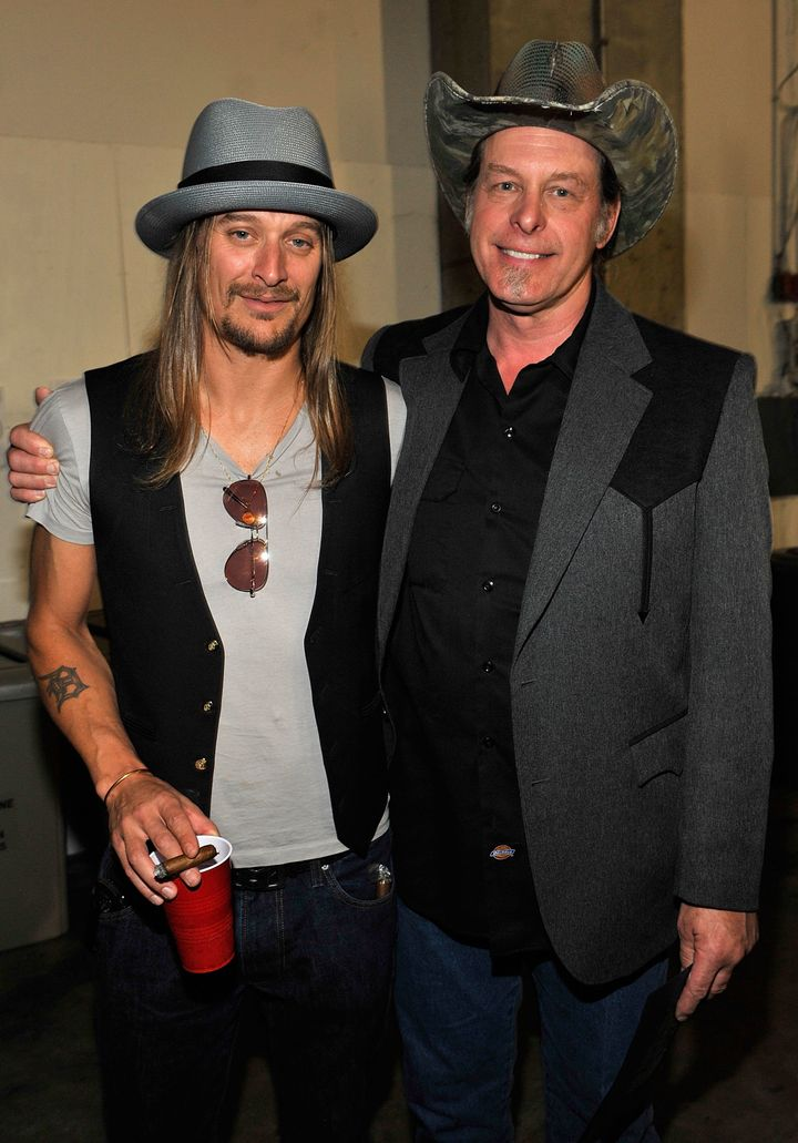 Ted Nugent, right, insists his friend Kid Rock is not really going to be a Republican candidate for U.S. senator.