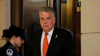 U.S. Representative Peter King (R-NY) arrives to take part in a closed-door House Intelligence Committee meeting with White House senior advisor Jared Kushner on Capitol Hill in Washington, U.S. July 25, 2017.  REUTERS/Jonathan Ernst