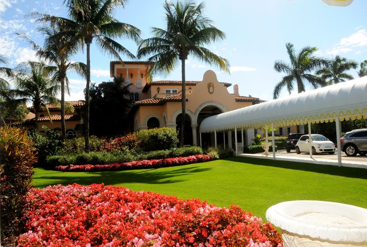 View, from the lawn, of the entrance to the ballroom on the Mar-a-Lago estate, Palm Beach, Florida.