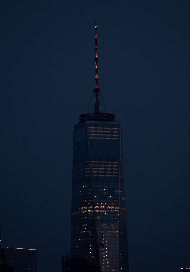 One World Trade Center's Spire Glows In Colors Of The Spanish