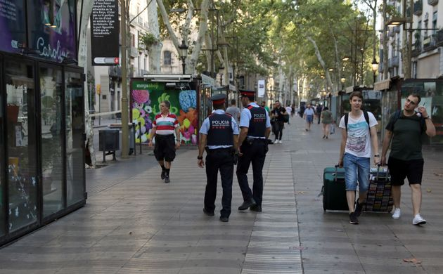 Officers patrolling Las Ramblas on Friday