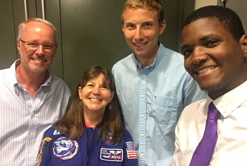 <em>SecondMuse digital storyteller Matt Scott poses with NASA Chief Technologist David Miller, former Astronaut Cady Coleman