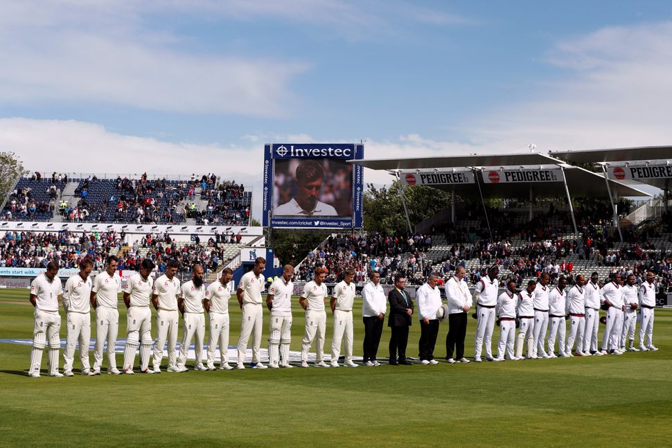 England and West Indies players during a minute of silence in Birmingham.