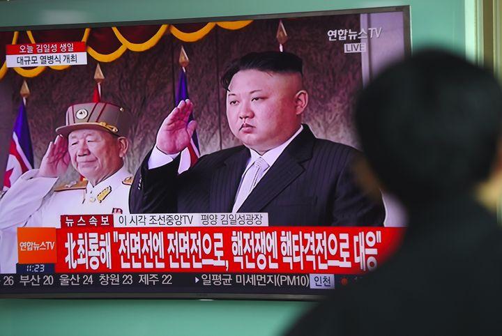 Anews broadcast shows Kim Jong Un ata parade in Pyongyang on April 15.