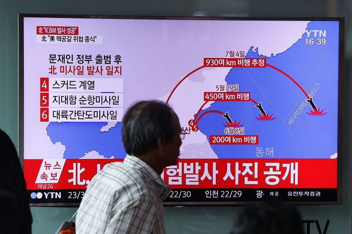 A South Korean television broadcast reports on a North Korean missile launch on July 4.