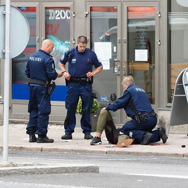 Police at the scene of a stabbing in Turku, Finland, on