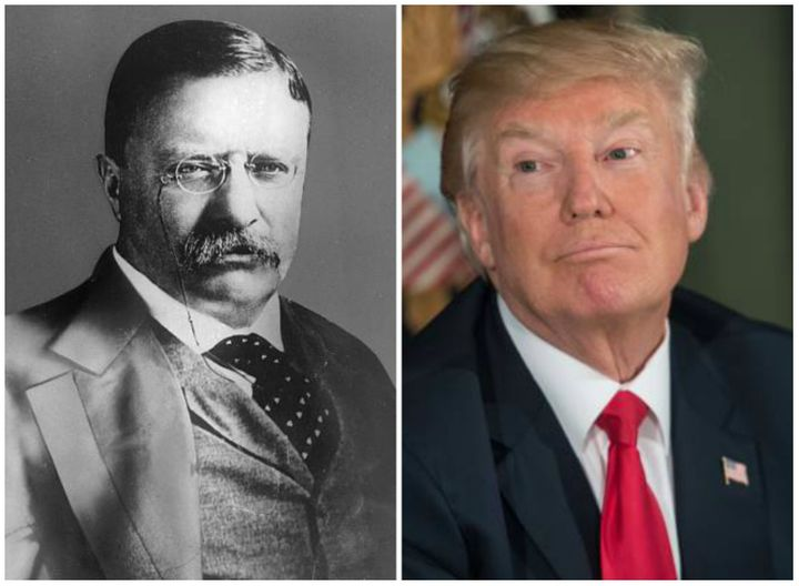 Two peas in a pod: President Theodore Roosevelt, left, and President Donald Trump, right.
