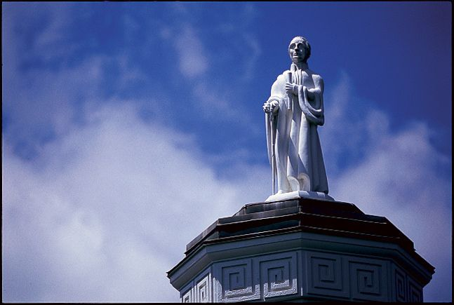"This statue of George Washington — called ""Ol' George"" — sits atop Washington Hall on the Washington & Lee University cam"