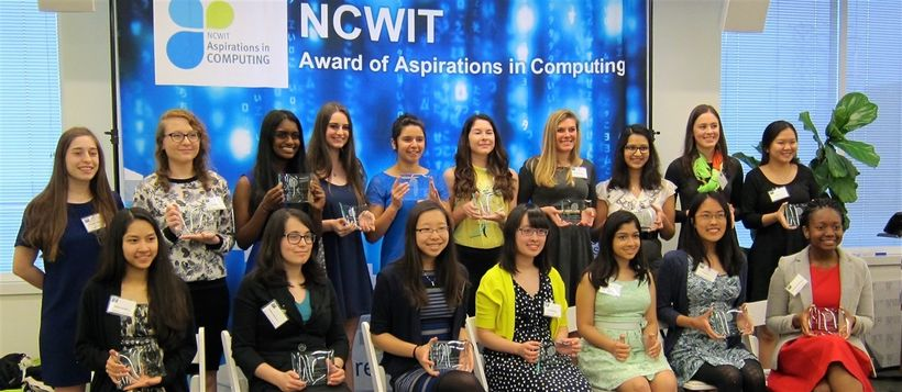 <em>The Aspirations in Computing Award recipients in Virginia beaming with pride.</em>